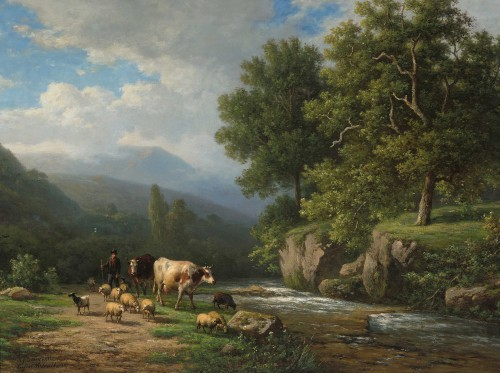 Verboeckhoven Eugène - Herd by a fast-flowing river