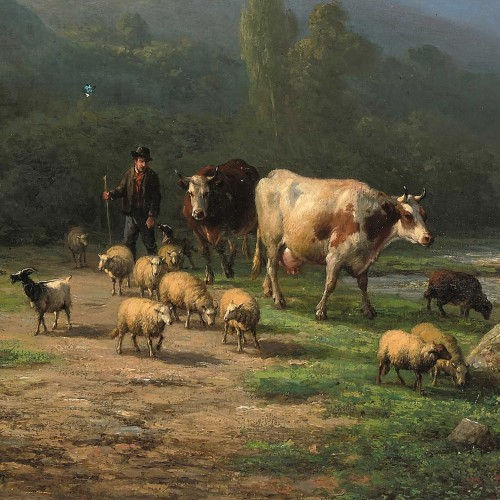 Verboeckhoven Eugène - Herd by a fast-flowing river - Paintings & Drawings Style Napoléon III