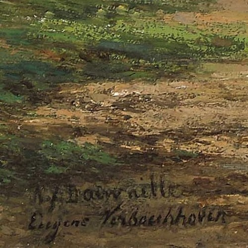 Paintings & Drawings  - Verboeckhoven Eugène - Herd by a fast-flowing river