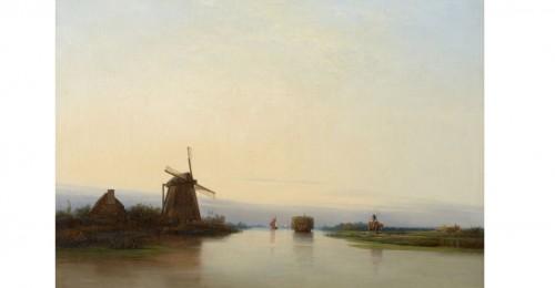 Per Wickenberg (1812 - 1846) River landscape with mill, 1839