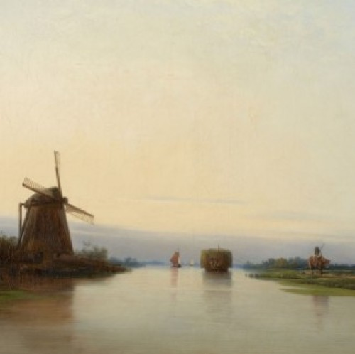 Per Wickenberg (1812 - 1846) River landscape with mill, 1839 - Paintings & Drawings Style