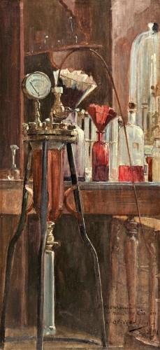 Le Laboratoire, 1891 -  Olivié-Bon Léon (1863-1901) - Paintings & Drawings Style