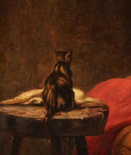Paintings & Drawings  - Woman With Cat - Joseph Bail (1862-1921)
