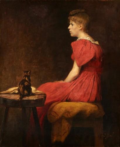 Woman With Cat - Joseph Bail (1862-1921) -