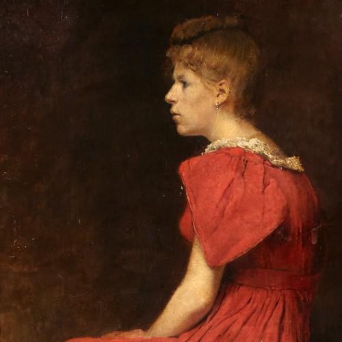 19th century - Woman With Cat - Joseph Bail (1862-1921)
