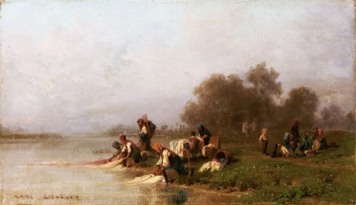 Washerwomen By The River - Karl Girardet (1813-1871) - Paintings & Drawings Style