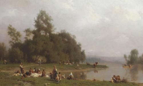 Paintings & Drawings  - Washerwomen By The River - Karl Girardet (1813-1871)
