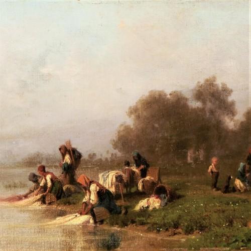19th century - Washerwomen By The River - Karl Girardet (1813-1871)