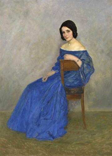 A Beautiful Woman In A Blue Dress - Theodor Funck (1867-1919)