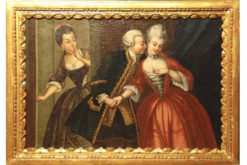 Oil on canvas 18th c french school indoor scene.
