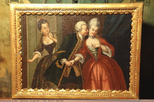 Oil on canvas 18th c french school indoor scene.   - Paintings & Drawings Style