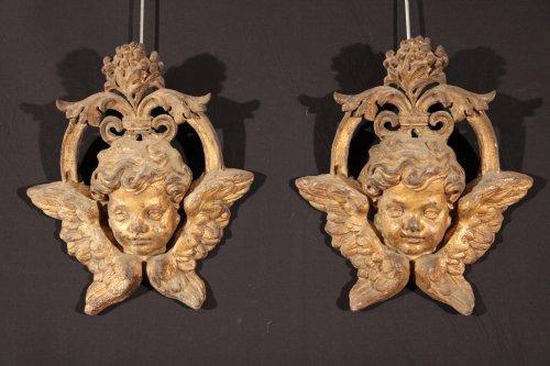 17th c pair of winged cherubs ' cast iron