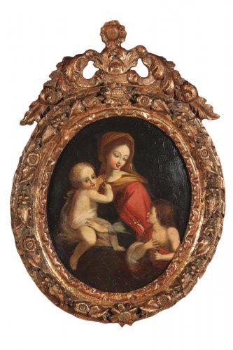 18thc oil on canvas. school of provence. virgin, child and little st john.
