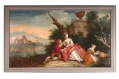 18th c french school pair of oils on canvas representing gallant scenes