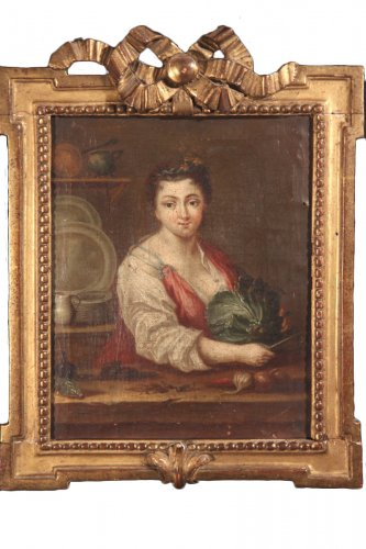 "18th c french school ""Youg woman with a cabbage"""