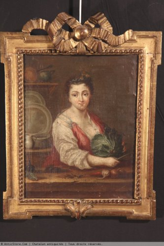 """18th c french school """"Youg woman with a cabbage"""" - Paintings & Drawings Style"""