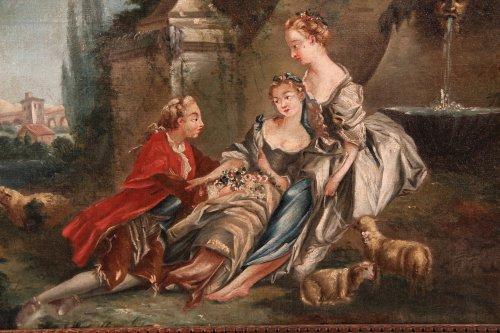 18th c french school . « galant scene  »   - Paintings & Drawings Style