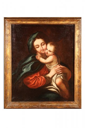 "Oil on canvas 18th C Italian School ""Virgin and Child"""