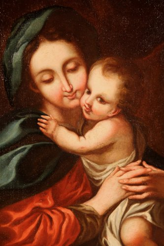 """Oil on canvas 18th C Italian School """"Virgin and Child"""" - Paintings & Drawings Style"""