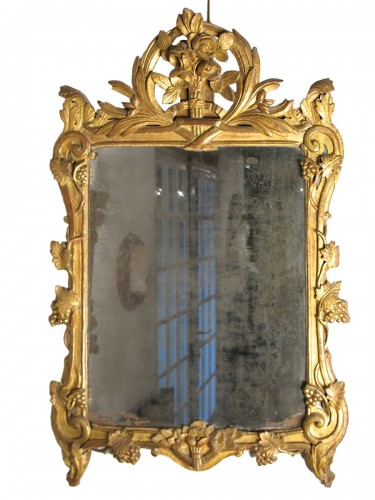 18thC Louis XV Carved and gilt wood Mirror from Provence