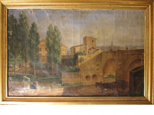 "End of 18thC French school ""Bridge over Arc river in Aix en Provence""."