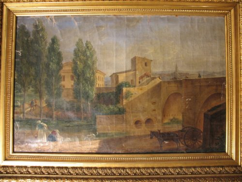 "Paintings & Drawings  - End of 18thC French school ""Bridge over Arc river in Aix en Provence""."