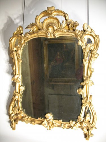 18th C  Louis XV mirror in gilt wood. From Provence - Mirrors, Trumeau Style Louis XV