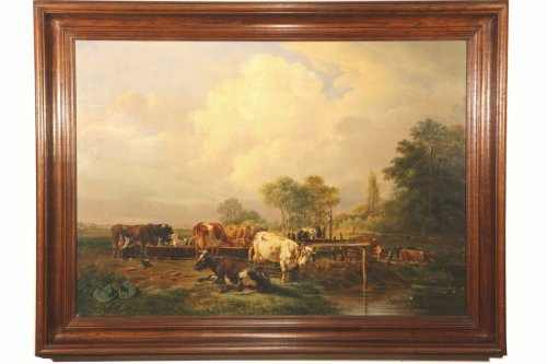 Dutch School. Pieter Gerardus Van OS (1776-1839). Watering herd of cows