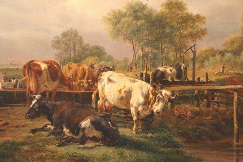 Dutch School. Pieter Gerardus Van OS (1776-1839). Watering herd of cows - Paintings & Drawings Style Louis-Philippe