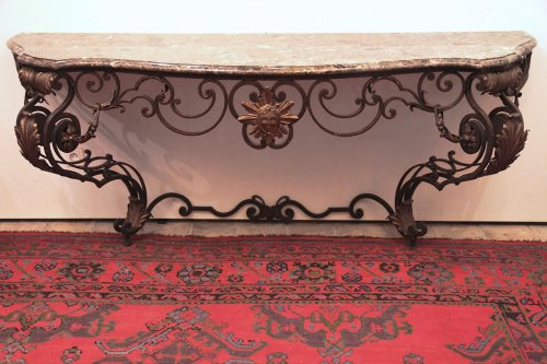 Large early 19th C. wrought iron console table from Provence