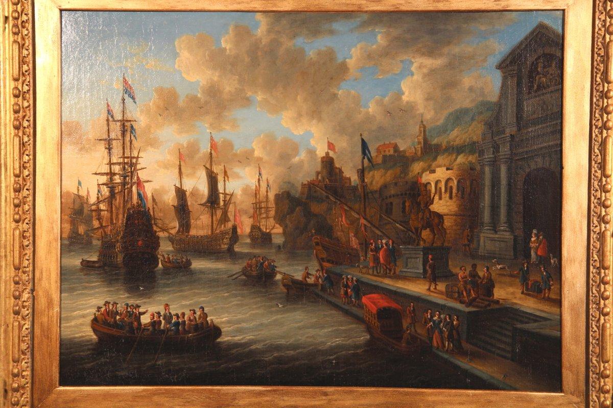 dutch school peter van de velde - port scene  imaginary harbor