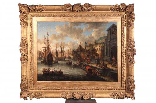 Dutch school Peter Van de Velde -  Port Scene, Imaginary Harbor