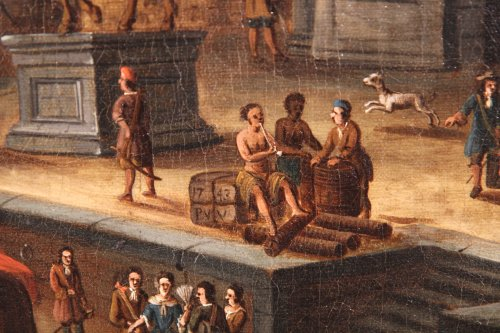 Dutch school Peter Van de Velde -  Port Scene, Imaginary Harbor - Paintings & Drawings Style