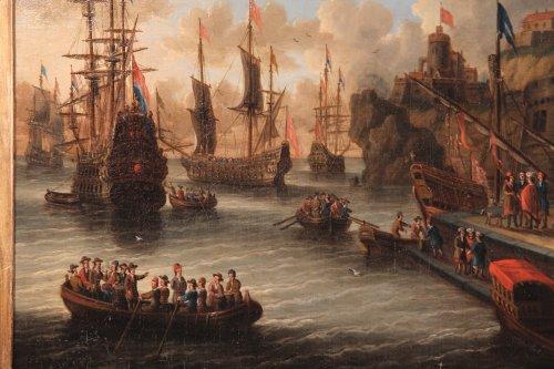 Paintings & Drawings  - Dutch school Peter Van de Velde -  Port Scene, Imaginary Harbor
