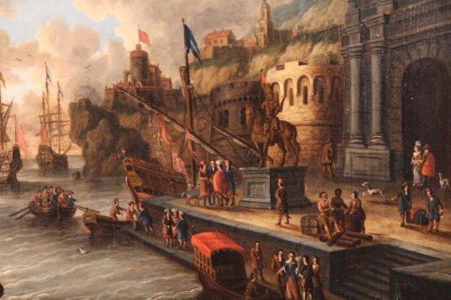 Dutch school Peter Van de Velde -  Port Scene, Imaginary Harbor -