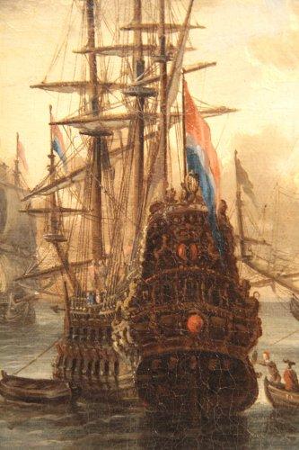 - Dutch school Peter Van de Velde -  Port Scene, Imaginary Harbor
