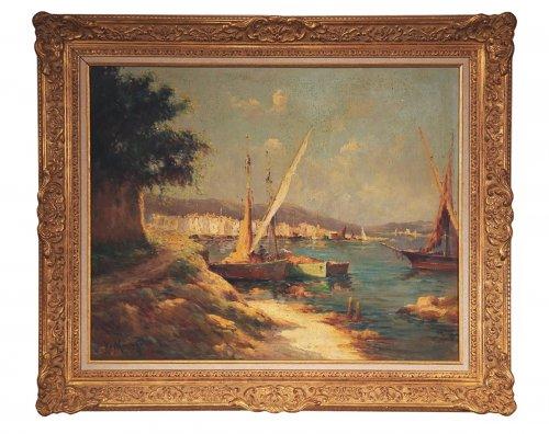 Mediterranean fishing harbour - Vincent MANAGO (1880-1936)