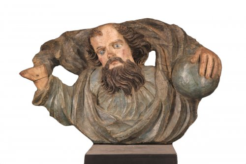 17th C Sculpture God the Father with the globe