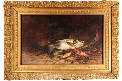 19thC still life Painting with fish - Eugène-Benoît BAUDIN (1843-1907)