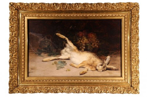 19thC still life Painting with a hare -  Eugène-Benoît BAUDIN (1843-1907)