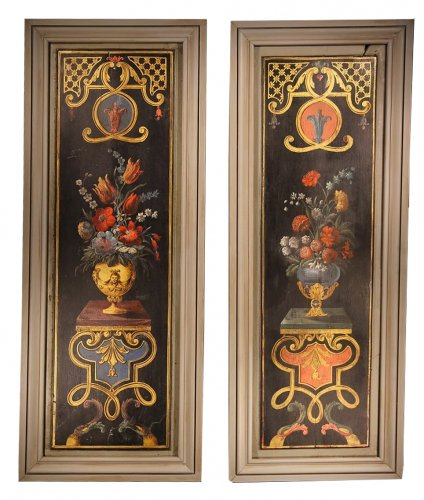 Panelling paintings formming a pair. 18th C French school