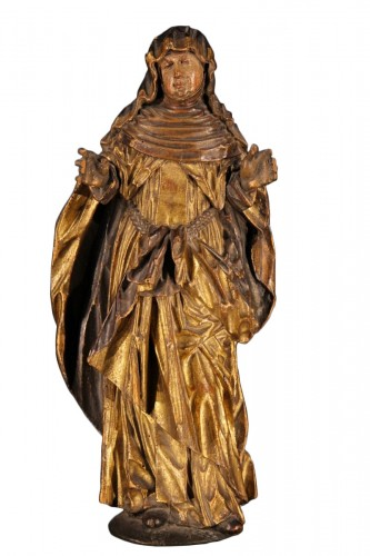 Statue representing a Saint nun. Piedmontese work circa 1600.