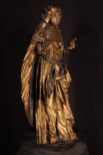 Statue representing a Saint nun. Piedmontese work circa 1600. - Sculpture Style