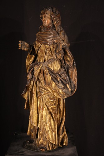 Sculpture  - Statue representing a Saint nun. Piedmontese work circa 1600.