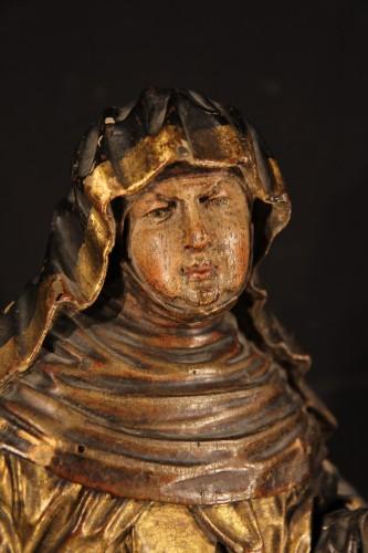 16th century - Statue representing a Saint nun. Piedmontese work circa 1600.