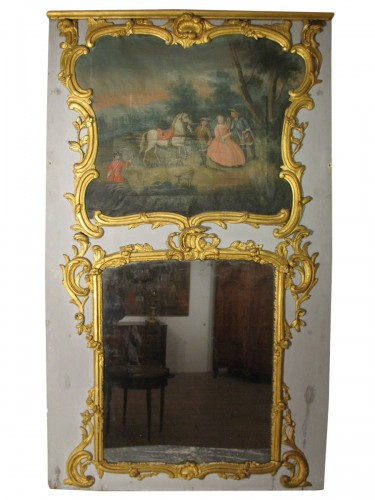 "18thC Louis XV ""trumeau"" in gilt wood"