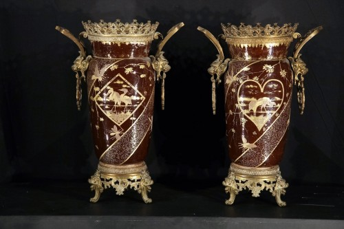 Late 19th C pair of vases in porcelain with bronze mounting. -