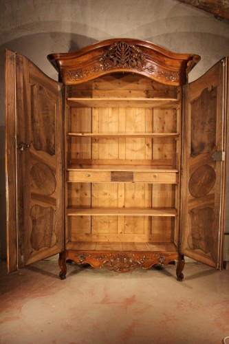 "Furniture  - End of 18th C marriage ""armoire"" (wardrobe). In walnut wood. From Nîmes."