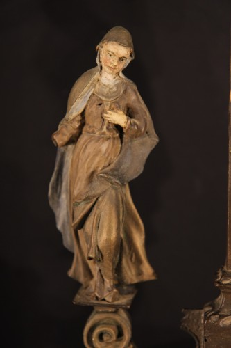 Late 17th C-early 18th C Baroque Calvary in wood -