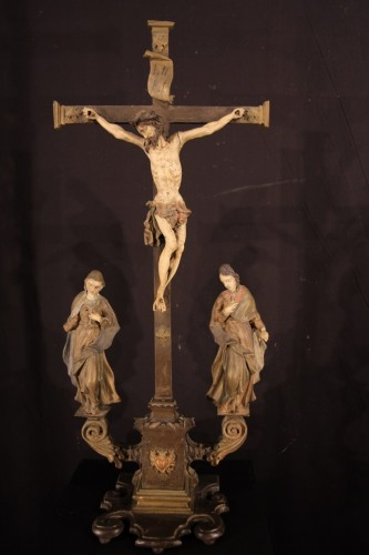17th century - Late 17th C-early 18th C Baroque Calvary in wood